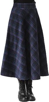 YKJL Faldas de Lana a Cuadros Vintage para Mujer Falda Larga ...