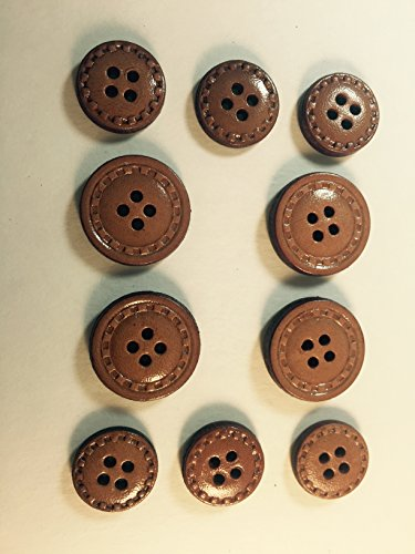 Rust LEATHER BUTTON SET -Tailored 4 Hole- Stitch Design ~ For Suits, Sport Coat, Uniform, Jacket , Dresses 10 Pc. Sew Suit Jacket Button