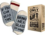 "Comfort Cotton Socks + Gift Box ""If you can read this bring me a glass of wine"" Perfect Unisex Gift for Wine Lovers,Birthdays,White Elephant,Mother's Day,Father's Day,husband or Best Friend Wine Socks"