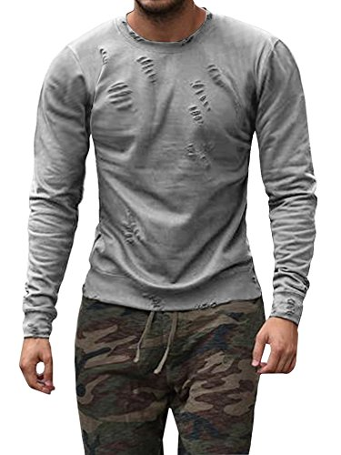 Runcati Mens Shirts Ripped Crewneck Long Sleeve Pullover T Sweatshirts Workout