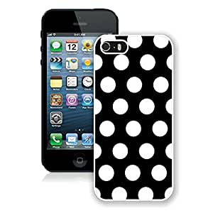 BINGO top-selling Polka Dot Black and White iPhone 5 5S Case White Cover