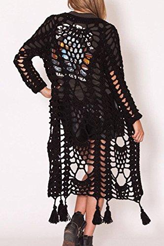 La Mujer Elegante Frontal Abierto Hueco Fuera Maxi Knit Cardigan Sweater Con Borlas Con Flecos Black