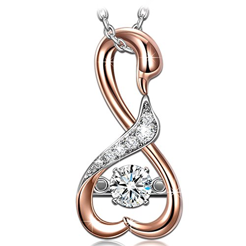 - DANCING HEART 925 Sterling Silver Swan Rose Gold Women Pendant Japanese Stone 5A Cubic Zirconia Fine Fashion Costume Jewelry Birthday Gifts for Girlfriend Wife Mum Mother