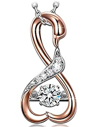 """""""Swan Kiss"""" ♥Valentines Day Gift♥ 925 Sterling Silver Rose Gold 4A CZ Pendant Necklace Fine Jewelry"""