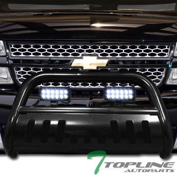 Topline Autopart Black HD Bull Bar Brush Push Front Bumper Grill Grille Guard w/ Skid Plate + 36W Cree LED Fog Light Lamp 99-07 Chevy Silverado Suburban GMC Sierra (06 Silverado Push Bar)