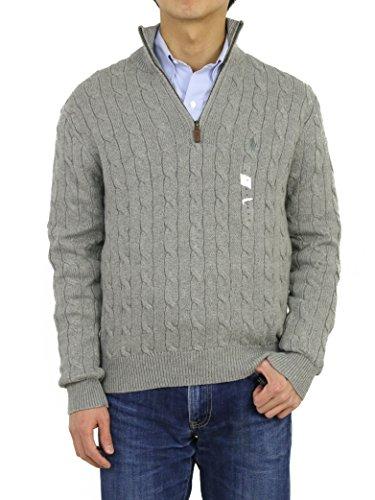 Polo Ralph Lauren Mens 1/3 Zip Cotton Cable Sweater (XXL, Grey)