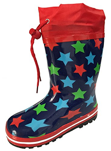 Picture of A.O.R. Toddler and Youth Kids Unisex Blue with Stars Design Rain Boot Snow Boot with Tie and Lining (1)