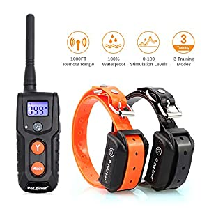 Petrainer PET916-2 Shock Collar for 2 Dogs 100% Waterproof Electric Dog Shock Collar with Remote Rechargeable Dog Training Collar with Beep Vibrating (10-100lbs)