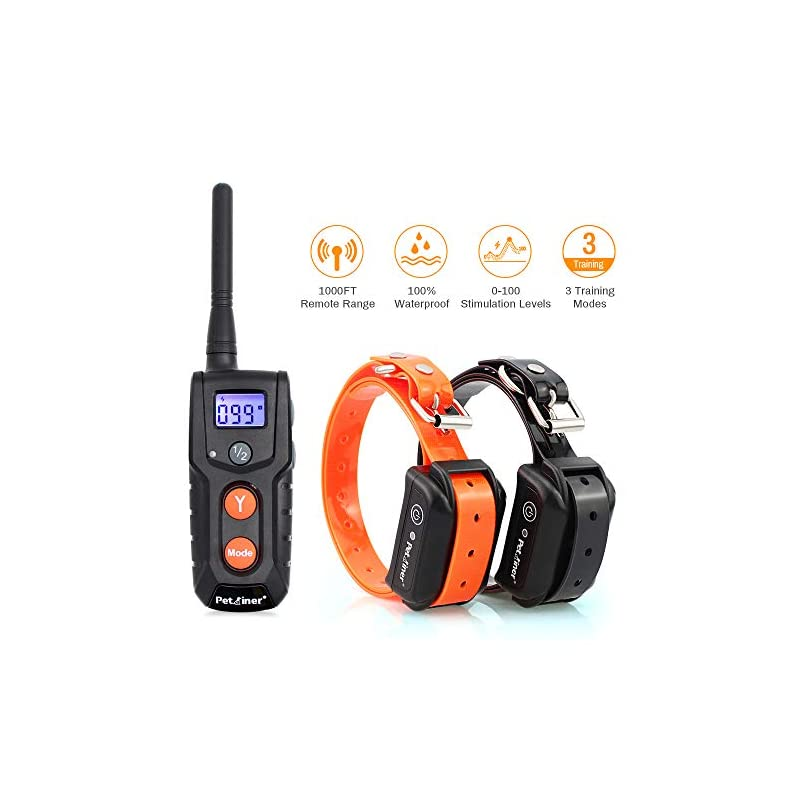 dog supplies online dog training collars with remote - shock collar for 2 dogs, small, medium, large, rechargeable 100% waterproof e-collar with 3 training correction modes, shock, vibration, beep, 1000' range