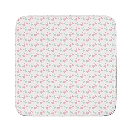 Cozy Seat Protector Pads Cushion Area Rug,Kids,Girls Room Inspired Image of Cartoon Hearts Romantic Love Design,Light Pink Mint Green and White,Easy to Use on Any Surface