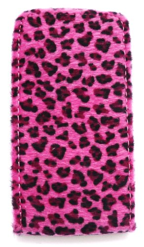 Emartbuy Apple Iphone 4 4G 4Gs 4S Hd Furry Leopard Pink Flip Case / Cover / Tasche Und Lcd Screen Protector