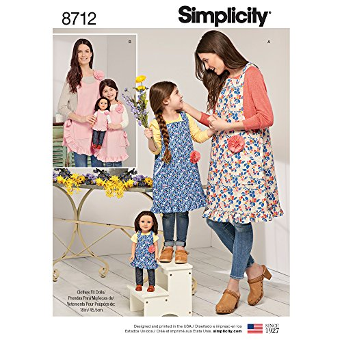 Simplicity Creative Patterns US8712A Child's, Misses' and Doll Aprons ()