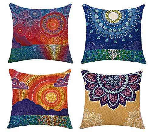 4 Pieces Boho Mandala Medallion Pillow Cases Floral Paisley Pattern Printed Pillowcases Indian Hippie Themed Square Bedclothes,Orange Coral Blue Teal Red Purple