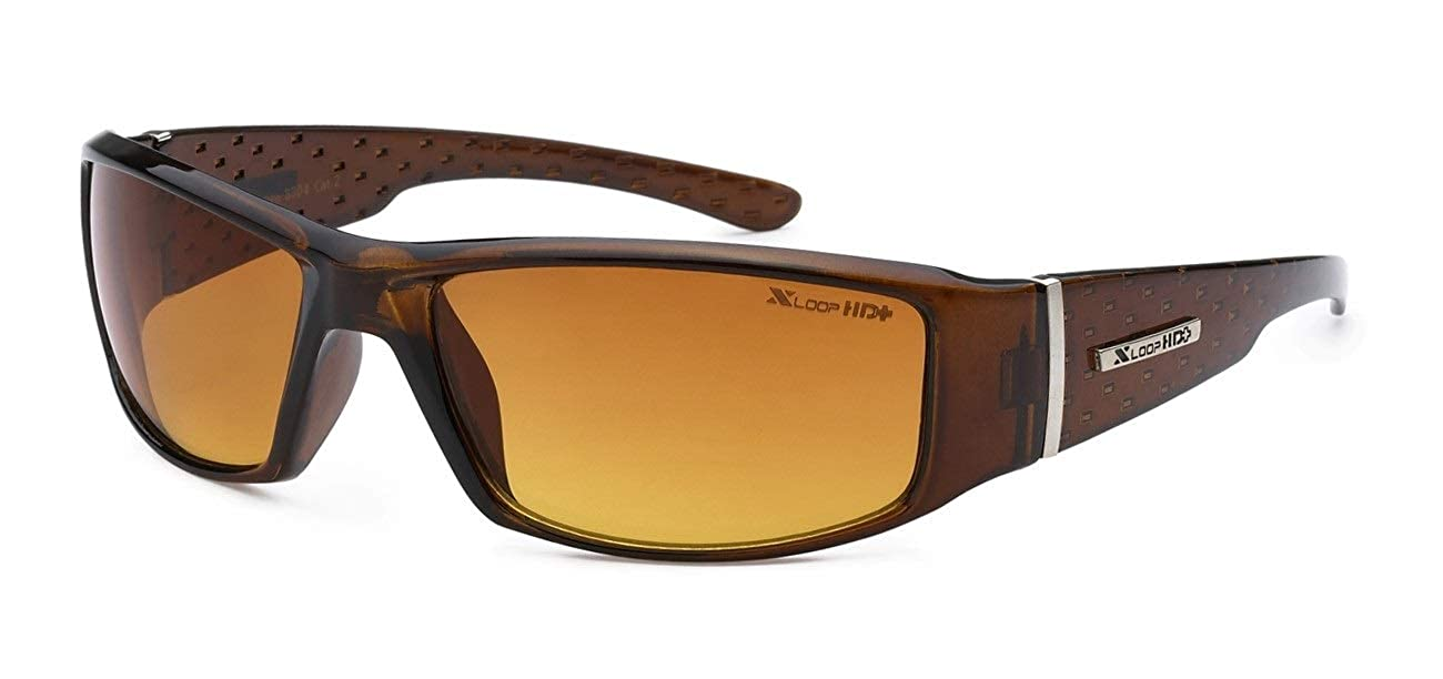 X-Loop Mens Driving Sunglasses Wraparound Frame HI Def UV400 Protection Gradient Copper Lens + Pouch