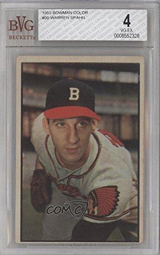 Warren Spahn BVG GRADED 4 (Baseball Card) 1953 Bowman Color - [Base] #99 (1953 Bowman Color Baseball)