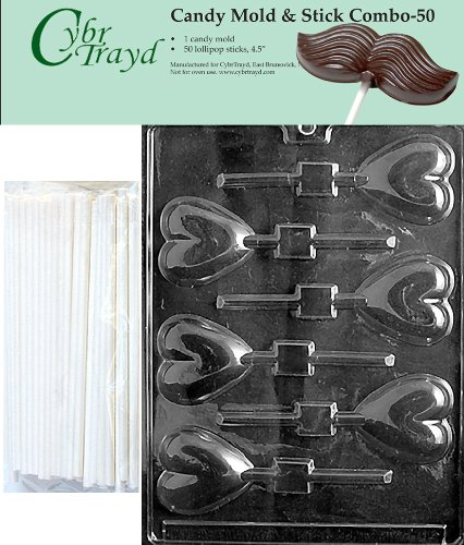 "Cybrtrayd 45St50-V026 Heart Lolly Chocolate Candy Mold with 50 Cybrtrayd 4.5"" Lollipop Sticks"