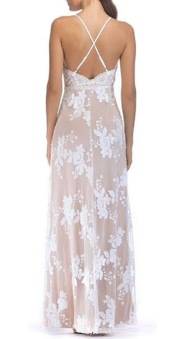 Blyent Womens Spaghetti Strap Backless Sequins Basic V Neck Slit Maxi Dresses