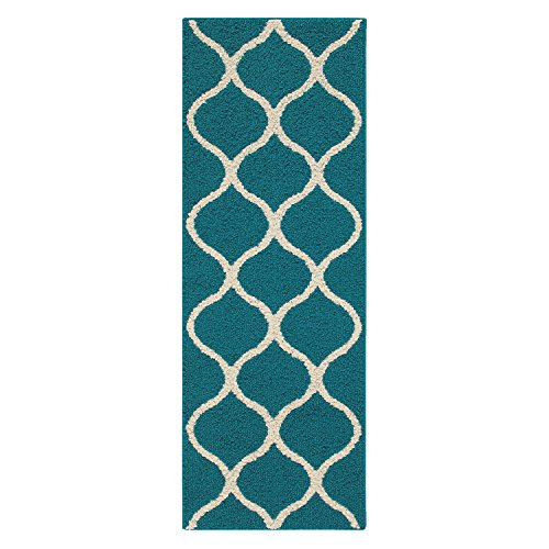 Runner Rug, Maples Rugs [Made in USA][Rebecca] 1'9 x 5' Non Slip Hallway Entry Area Rug for Living Room, Bedroom, and Kitchen - Teal/Sand Accent Runner