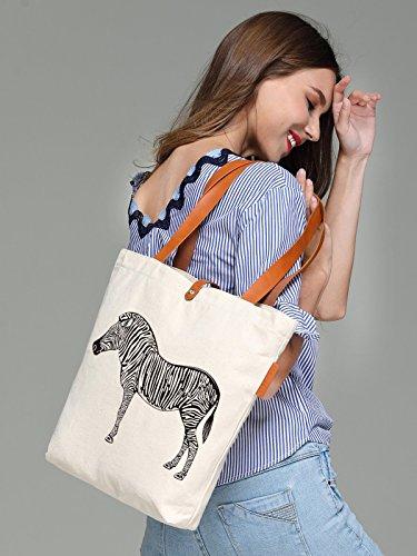 So'each Women's Animal Zebra Graphic Top Handle Canvas Tote Shoulder Bag