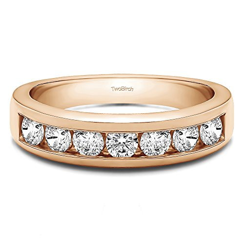 TwoBirch 0.35Ct Seven Stone Channel Set Wedding ring in 18k Rose Gold White Sapphire(Size 3 to 15 in 1/4 Sizes)