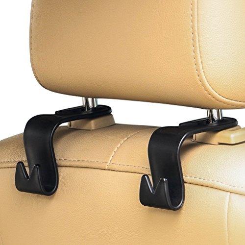 Back Seat Headrest (AULLY PARK Car Back Seat Headrest Hanger Holder Hooks for Bag Purse (Black - Pack of 4))