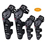 SCOYCO Motorcycle Knee & Albow Guards 4 pcs,with PP Shell Protection,Shin Protector Safe Cycling Racing Extreme Sport Equippment