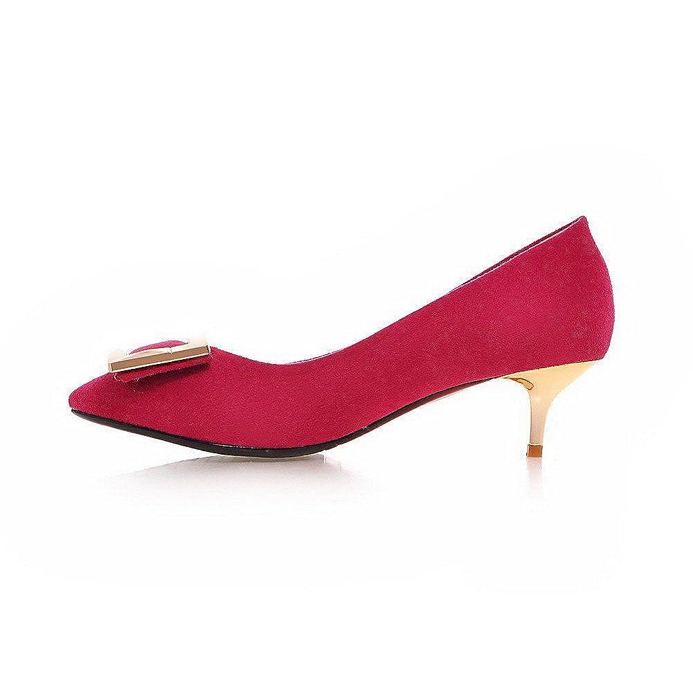 AgooLar Damen Rein Mattglasbirne Mittler Absatz Ziehen auf Spitz Zehe Pumps Schuhe, Rot, 40