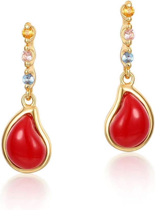 ERJQ Pendientes Pendientes de Plata, Coral Rojo Ligero, pequeña Coma Plata de Ley 925 Pendientes de Oro de 9K Pendientes de Borla de circonio de Color