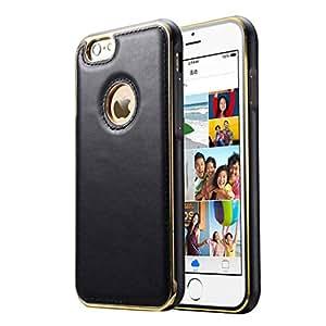 """Para iphone 6 Plus , ivencase Costura Textura Genuino Cuero & Exquisito Aluminum Metal Frame Dual Hybrid Layer Defender Protector Funda Carcasa Tapa Case Cover Para Apple iphone 6 Plus (5.5 """") Negro"""