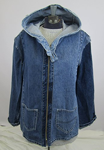 Hooded Denim Jacket Large made from upcycled jeans by Recycled Seams