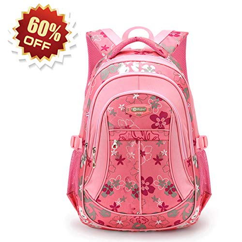 Flower Print Backpacks, RUIPAI Pink Backpack for Women and Girls School Shoulder Rucksack Casual Travel Backpack for Women