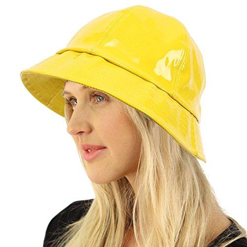 Rain Bucket Hat Cap Waterproof Packable Adjustable Yellow]()