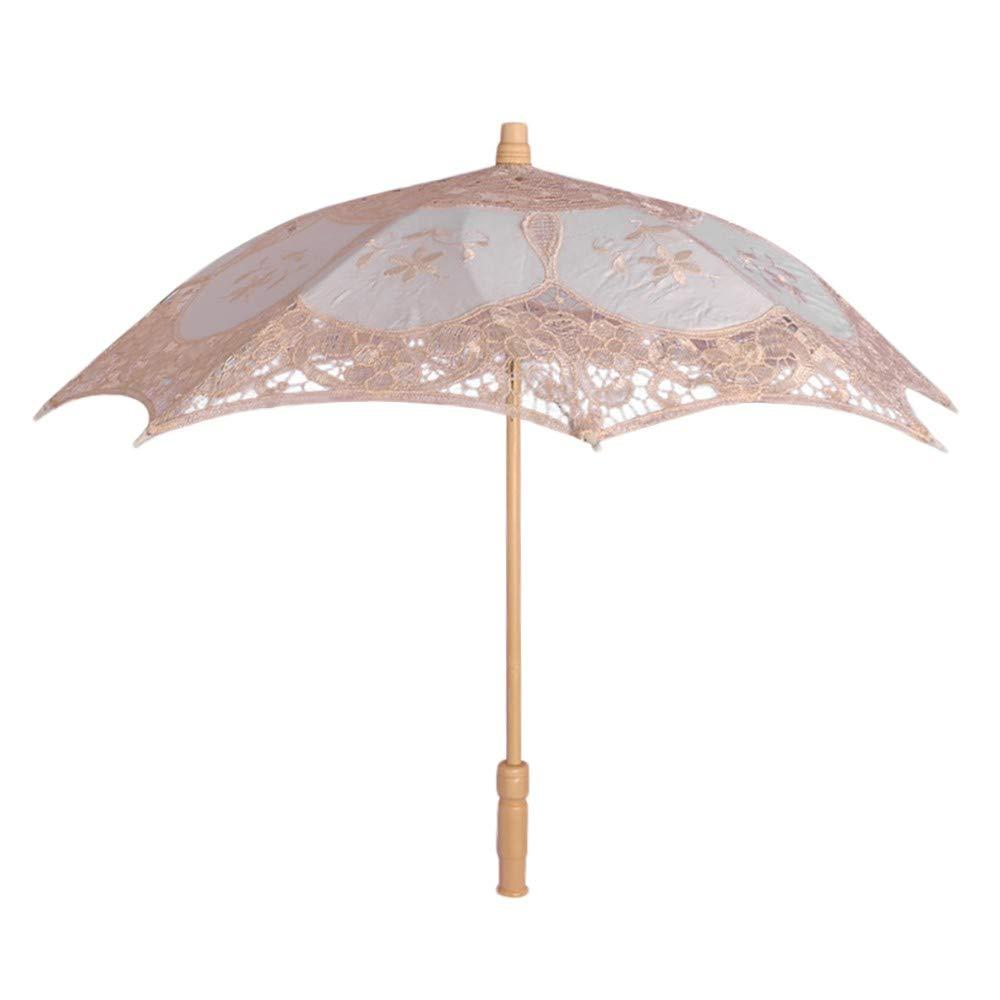 YJYdada Lace Embroidered Sun Parasol Umbrella Bridal Wedding Dancing Party Photo Show (Small, Beige)
