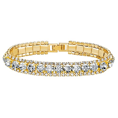 (Palm Beach Jewelry Gold Tone Simulated Birthstone and Crystal Tennis Bracelet 7