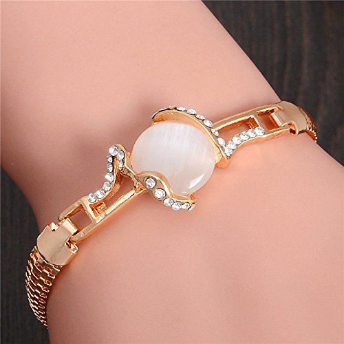 - Phetmanee Shop Lovely Austrian Crystal Opal 18K gold Plated Women's Bracelet