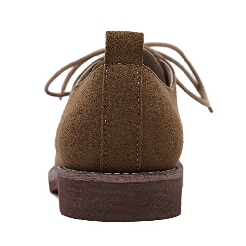 Hiver Femmes Lacets Bas Chunky Talon Désinvolte Oxford Chaussures Plates Brun