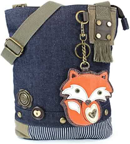 bc6e09b84 Chala Purse Handbag Denim Canvas Crossbody With Key Chain Tote Bag Foxy Fox