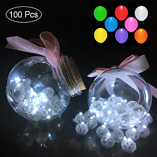 100pcs White LED Balloon Light,Round Led Flash Ball Lamp for Paper Lantern Balloon Party Wedding Decoration]()