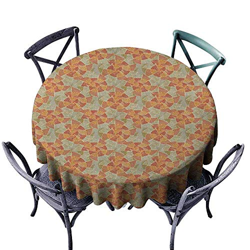ScottDecor Patio Round Tablecloth Fabric Tablecloth Pinwheel,Earth Tones Inspired Artistic Abstract Motifs in Striped Circular Vintage Shapes, Multicolor Diameter 36