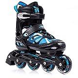 Meteor Inline Skates Children's Kids Inliners Roller Skates Roller Blades ABEC 7 Carbon Children's Inline Skates Adjustable Shoe Size AREA (M(35-38, 2,5-5 UK), Blue)