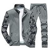 Sun Lorence Men's Sports Camo Sweatshirt With Jogger Pants Sweat Suit Tracksuit Set Darkgrey XXXL