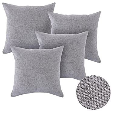 Deconovo Faux Linen Look Throw Cushion Case Pillow Cover With Invisible Zipper for Sofa 18 x 18 Inch Neutral Grey 4 PCS NO PILLOW INSERT