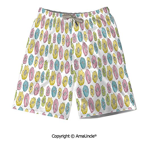 (AmaUncle Summer 3D Printed Beach Shorts for Men,Colorful Seasonal Field Pattern Graphic G)