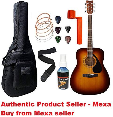 yamaha acoustic guitar Yamaha F310 Dreadnought Acoustic Guitar with Sponge Bag, Belt and Plectrums Combo Pack (sunburst)