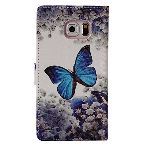 aeeque se, iPhone 5/5S/5C/6/6S (Plus), Samsung Galaxy S3/S4/S5/S6/S6Edge/S6Edge Plus/J5/Note 5/S7/S7edge/G360/G530/i9060, Sony Xperia M4/Z5/Z5mini, Huawei P8Lite elegante dibujo pintura patrón f Blue Butterfly Flower