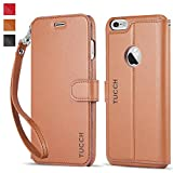 iPhone 6s Plus Case iPhone 6 Plus Case, TUCCH® iPhone 6s Plus/ 6 Plus Wallet Case, Premium PU Leather Flip Cover with Detachable Wrist Strap, Stand, Card Slots and Magnetic Clasp - Brown