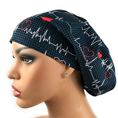 Women's EKG Heartbeat Surgical Scrub Hat Navy Blue Bouffant Cap