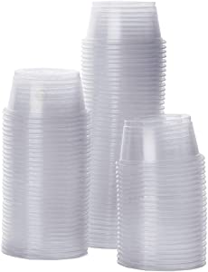 """SunGrow Gecko Food and Water Containers, Reusable, Recyclable, Disposable Cups, 0.5 oz Capacity Plastic Transparent Dishes, Fits Various Reptile Feeder, 1.6"""" Diameter, 0.6"""" Depth, 100 Pcs"""