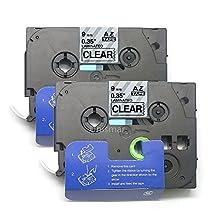 "Unismar 2 Pack Compatible TZe-121 TZe121 TZ-121 TZ121 Laminated Tape Black on Clear 9mm (3/8"") Width 8m (26.2ft) Length for Brother P-Touch Label Makers & Printers (US-TZe121 2PK)"