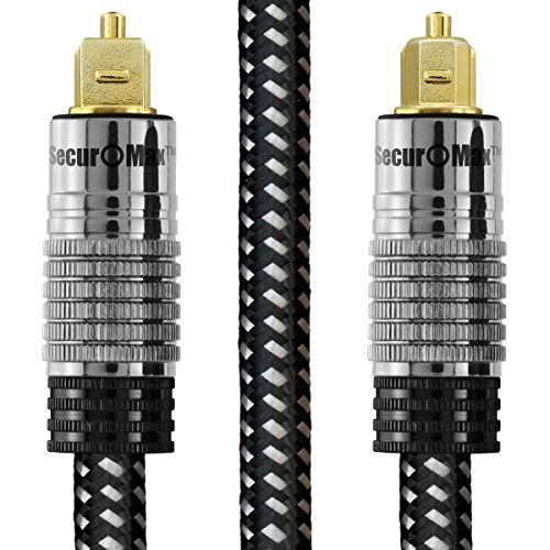 SecurOMax Digital Optical Audio Cable (TOSLINK, S/PDIF, ADAT, EIAJ) with Braided Fiber Optic Cord and JIS F05 Male to Male Connectors, 6 Feet